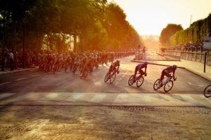 Cyclists Tour de France Paris